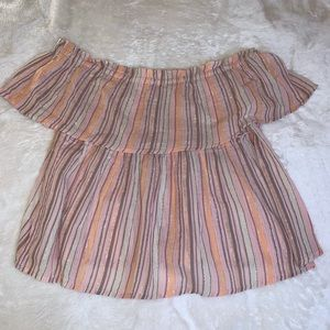 Sparkly striped off the shoulder top